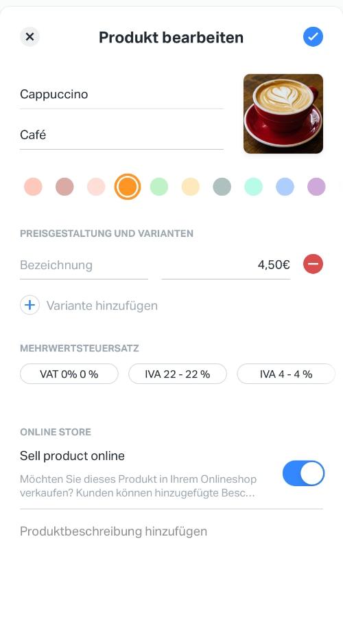 Anlegen eines Produktes in der SumUp App