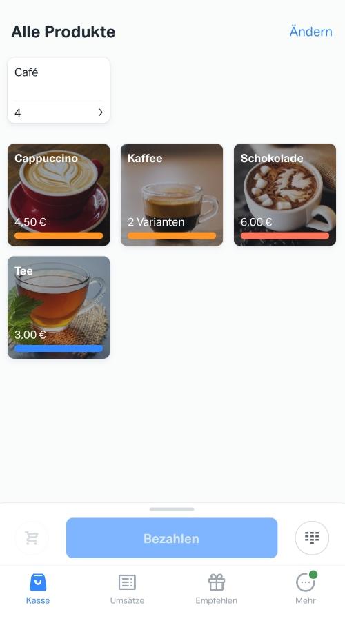 Produktbibliothek der SumUp App