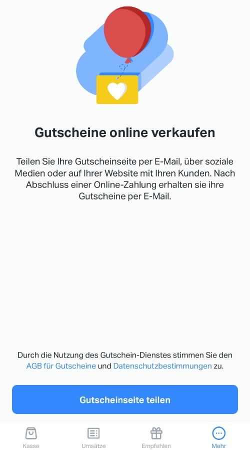 Erstellung von Gutscheinen mit der SumUp App